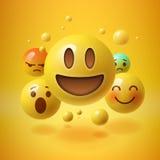 Желтая предпосылка с группой в составе смайлики smiley Стоковое Изображение RF
