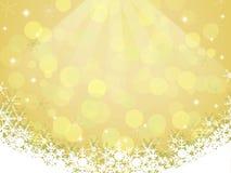 Желтая предпосылка с снежинкой и bokeh Стоковые Изображения RF