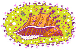 Желтая раковина с шипами Стоковые Фото