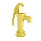 Желтая ретро водяная помпа изолированная на белизне Стоковые Фото