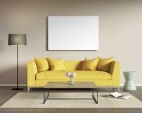 Желтая софа в современной живущей комнате Стоковое Фото