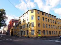 Желтое здание в городе Осло, Норвегии Стоковая Фотография