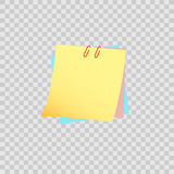 Желтое липкое примечание изолированное на прозрачной предпосылке Стоковое фото RF