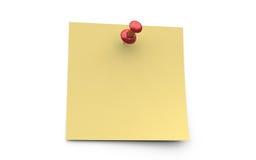 Желтое липкое примечание с красным штырем Стоковое Изображение