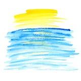 Желтое и голубое пятно вектора акварели Стоковое Изображение RF