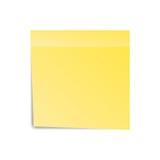 Желтое примечание бумаги стикера для извещения Липкая страница Пробел при тень изолированная на белой предпосылке также вектор ил Стоковая Фотография