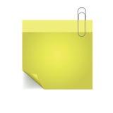 Желтое примечание с штырем с бумажным штырем Стоковая Фотография RF