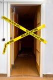 Желтое пластичное место преступления Стоковая Фотография