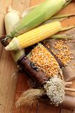 Желтое сухие зерно мозоли и мозоль свежие Стоковая Фотография RF