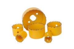Желтые буровые наконечники кольцевой пилы Стоковая Фотография