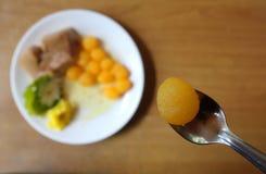 Желтые десерты сделанные из яичек в Таиланде Стоковое Изображение RF