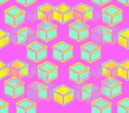 Желтые, зеленые и голубые кубы на розовой предпосылке иллюстрация штока