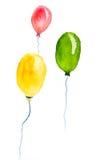 Желтые, зеленые, красные воздушные шары на белизне, иллюстратор акварели Стоковые Изображения