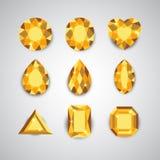 Желтые диаманты и рубиновые значки вектора Стоковое Изображение
