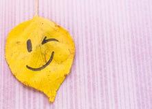 Желтые лист с подмигивать изображения Стоковое Изображение