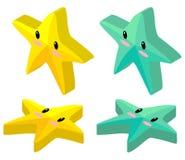 Желтые и зеленые морские звёзды в дизайне 3D бесплатная иллюстрация