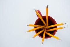 Желтые карандаши цвета держали в кружке на белой предпосылке Стоковые Фото