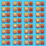Желтые кнопки значков игры, значки, интерфейс Стоковые Фотографии RF