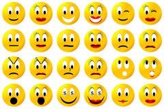 Желтые комплект или собрание smiley Стоковая Фотография