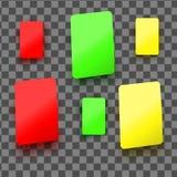 Желтые, красные и зеленые пластичные карточки иллюстрация штока