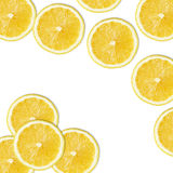 Желтые куски лимона на белизне Стоковое Изображение