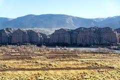 Желтые поля и скалы в Боливии Стоковое Фото