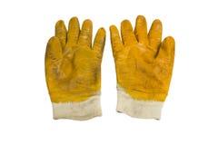 Желтые работая перчатки Стоковые Изображения