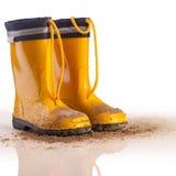 Желтые резиновые ботинки для детей на белой предпосылке Стоковые Фото