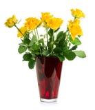 Желтые розы в вазе Стоковые Изображения RF