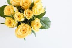 Желтые розы сверху Стоковые Фото
