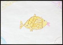 Желтые рыбы чертеж s ребенка иллюстрация штока