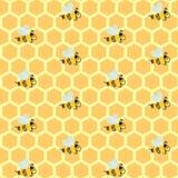 Желтые соты и пчелы повторять бесплатная иллюстрация