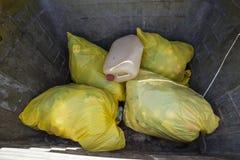 Желтые сумки отброса Стоковое Изображение RF