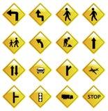 Желтые установленные значки дорожного знака Стоковое фото RF