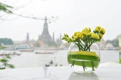 Желтые цветки в короткой стеклянной вазе с backg реки и виска стоковое изображение