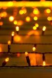 Желтые электрические лампочки рождества Стоковое Изображение RF