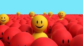 Желтые люди некоторое 3d приходят вне от красной толпы Стоковое Фото