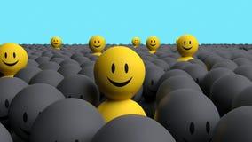 Желтые люди некоторое 3d приходят вне от серой толпы Стоковое Фото