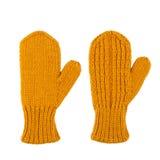 Желтые mittens шерстей на белизне Стоковое Фото