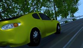 Желтый автомобиль идя покатый Стоковые Фото