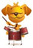 Желтый барабанщик собаки потехи бьет барабанчики иллюстрация штока