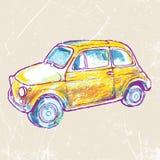 Желтый винтажный автомобиль на grungy предпосылке также вектор иллюстрации притяжки corel Стоковое Фото
