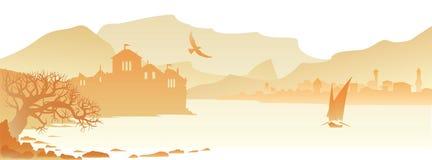 Желтый город панорамы Стоковые Фотографии RF