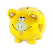 Желтый денежный ящик стиля копилки изолированный на белизне Стоковое Фото