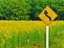Желтый знак извилистой дороги Стоковая Фотография