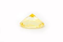 Желтый изолированный диамант Стоковое Изображение RF