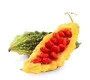 Желтый и зеленый momordica изолированный на белизне Стоковые Изображения RF