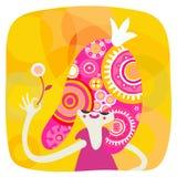 Желтый и розовый портрет принцессы Иллюстрация штока