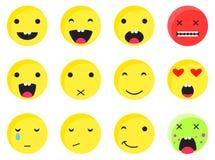 Желтый круглый комплект emoji улыбки Вектор стиля значка смайлика плоский Стоковая Фотография