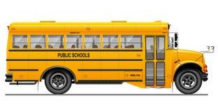 Желтый классический школьный автобус Взгляд со стороны американское образование Трехмерное изображение с тщательно прослеженными  Стоковые Фотографии RF